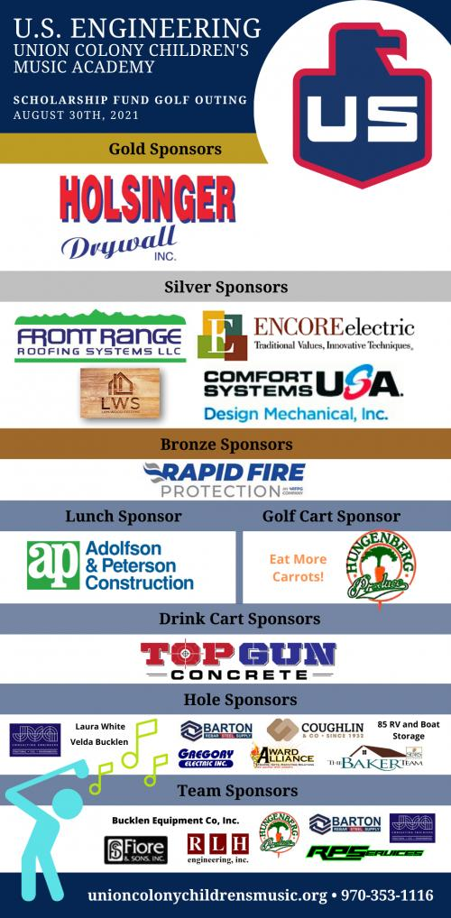 List of sponsors for the U.S.Engineering UCCMA Scholarship Fund Golf Outing.